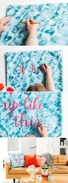 DIY hand lettered pillow project #snapfishbloggers