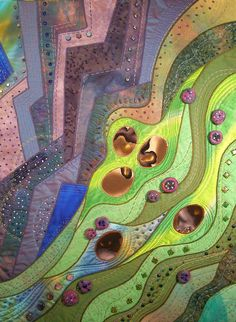 1 of 3 quilts designed for special exhibit - mine celebrate ebb & flow; this one is Ebbing Hillsides