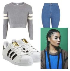"""A outfit I would wear by the way about me/I'm 11 years old"" by keke69358 on Polyvore featuring Topshop and adidas Originals"