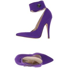 Blumarine Court ($395) ❤ liked on Polyvore featuring shoes, pumps, purple, blumarine shoes, spiked heel pumps, purple shoes, purple pumps and ankle tie shoes