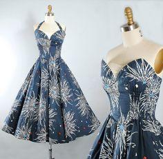 560618d29d37 Vintage ALFRED SHAHEEN 50s Dress 1950s HAWAIIAN Cotton Sundress Navy Blue  Floral Diamond Atomic Print Halter Top Petal Bust S Small M Medium