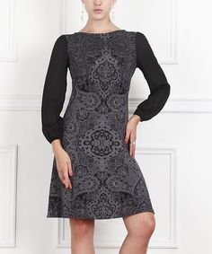 This Charcoal Arabesque Boatneck Dress is perfect! #zulilyfinds