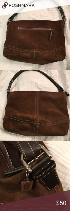 Coach Suede shoulder bag good condition 🎓⭐️🎓🎓COLLEGE FUNDRAISER 🎓⭐️🎓🎓Coach Suede shoulder bag good condition strap is adjustable wear it short or longer coach leather fob Coach Bags Shoulder Bags