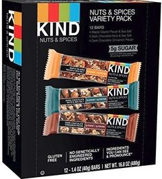 Another favorite snack bar are the Kind bars.  We favor the chocolate chip.  These are gluten free and have lots of nuts!  Picture: eBay affiliate link.