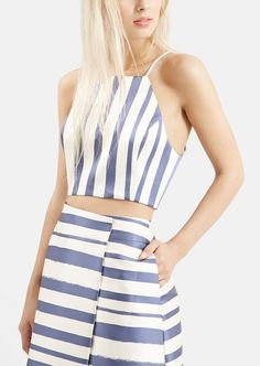 Obsessed with this sleek blue and white Topshop ensemble.