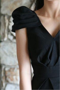 pleated puffy shoulder dress DIY                              …
