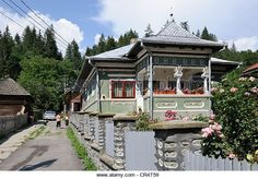 Houses in Voineasa village, Valcea county, Romania, Europe - Stock Image