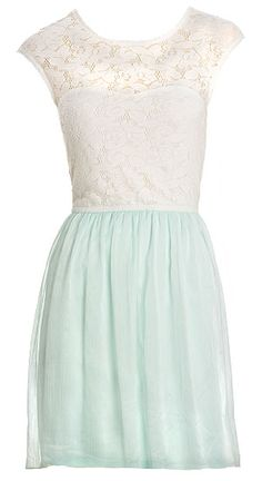 Lace Top & Chiffon Bottom Dress- Dynamite.ca