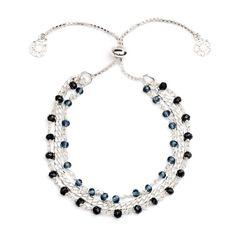 'Melina' Silver Iolite Three Strand Slide Clasp Bracelet | Discover Azuni www.azuni.co.uk