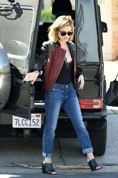 Lucy Hale in STRÖM Brand Sexton Galaxy slim boyfriend jeans.