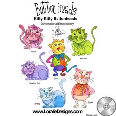 Kitty Kitty Button Heads Embroidery Design Collection | CD