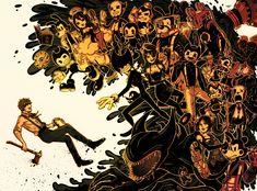 bendy and the ink machine Bendy Y Boris, Alice Angel, Just Ink, Demon Art, Arte Horror, Bendy And The Ink Machine, Video Game Art, Indie Games, Cool Art