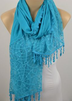 ON SALE  Blue Scarf  Cowl with Lace Edge by LIFEPARTNER on Etsy, $17.40