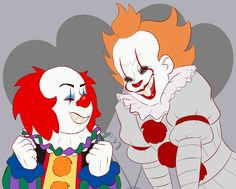 Pennywise (old) and Pennywise (New) Slasher Movies, Horror Movie Characters, Horror Movies, Clown Names, Le Clown, Pennywise The Dancing Clown, Funny Horror, Fan Art, Gaara