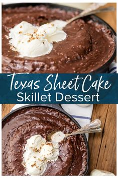 Texas Chocolate Sheet Cake is a classic, and this fun skillet version is just as gooey, chocolatey, and delicious! This easy chocolate cake recipe is just as easy as baking it in a sheet pan. Top this tasty skillet dessert with ice cream and dig in! Texas Chocolate Sheet Cake, Chocolate Cake Recipe Easy, Chocolate Recipes, Chocolate Cakes, Aquafaba, Cupcakes, Cupcake Cakes, Iron Skillet Recipes, Skillet Cooking