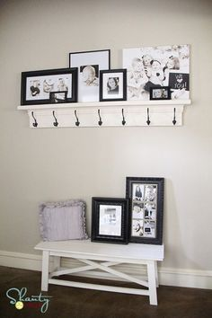 decorating with framed portraits -- good layering on a shelf