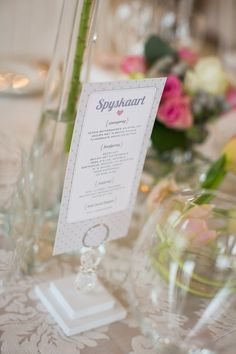 South Africa Wedding from Adene Photography Weak In The Knees, Wedding Menu, Table Numbers, Special Events, South Africa, Style Me, Floral Design, Wedding Decorations, Place Card Holders