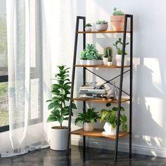 Wood Shelving Units, Wood Shelves, Stair Shelves, Ladder Shelves, House Plants Decor, Plant Decor, Living Room Furniture, Home Furniture, Metal Bookcase
