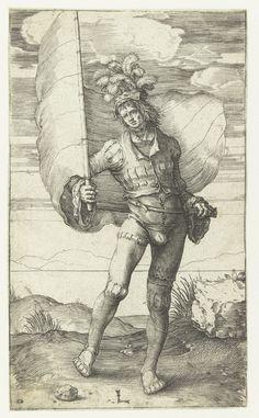 Artist: van Leyden, Lucas, Title: De vaandeldrager, Date: 1508-1512