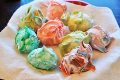 Shaving cream/ food coloring Easter eggs, let dry overnight and wipe off with paper towel...love this!