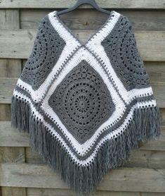 Poncho Crochet, Crochet Jacket, Diy Crochet, Crochet Stitches, Crochet Patterns, Crochet Granny, Crochet Hair, Blanket Crochet, Poncho Knitting Patterns