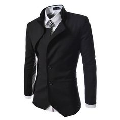 TheLees Mens unbalance 2 button china collar jacket Black Large(US Medium) TheLees - Male Ryuko Matoi cosplay option Der Gentleman, Gentleman Style, Komplette Outfits, Cool Outfits, Mode Man, Style Masculin, Steampunk Clothing, Casual Steampunk, Sharp Dressed Man
