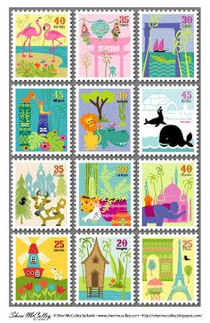 Printable -- Adorable Postage Stamps for SMASH*, Project Life or Pen Pal Letters Pen Pal Letters, Pocket Letters, Letters Mail, Project Life, Images Vintage, Fun Mail, Postage Stamp Art, Printable Paper, Free Printable