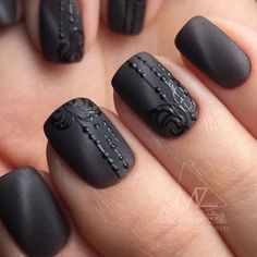Manicure Nail Designs, Nail Manicure, Black Nail Designs, Nail Art Designs, Art Deco Nails, Gothic Nails, Cat Eye Nails, Nailed It, Stylish Nails