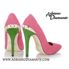 Pink and green heels w/ pearls! Oh So Pretty!!