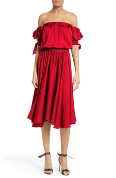Main Image - Milly Zoey Off the Shoulder Stretch Silk Midi Dress