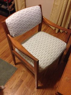 Thanks to an old curtain, this chair got a facelift.
