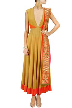 Mustard and orange panelled anarkali set BY VASAVI SHAH. .. Gorgeous concept, different colors