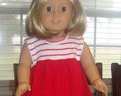 """Doll knit dress pattern - Mini Sandpiper PDF pattern - 15"""" and 18"""" doll size"""