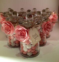 Christening or wedding bonbonerie jars using Stampin Up! Spiral flower die by Belinda Brown
