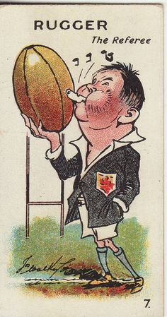 """Major Drapkins cigarette card """"the Referee"""" A Team, Team Logo, Rugby Poster, Baseball Savings, Rugby Sport, Team Games, Referee, World Of Sports, Basketball Jersey"""