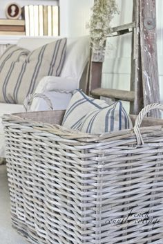 Chunky Baskets French Stripe Pillows