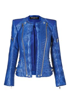 Gipsy Blue Woven Biker Jacket by BALMAIN