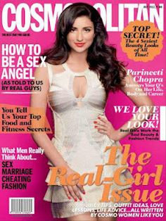 Parineeti Chopra on The Cover of Cosmopolitan Magazine India July 2012. | Bollywood Cleavage
