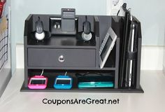 Create an iPod Charging Station for all of your electronic charging needs. You can turn a basic desktop organizer into the perfect charging station for YOU! Do It Yourself Organization, Home Organisation, Desktop Organization, Office Organization, Organizing Ideas, Electronic Charging Station, Charging Station Organizer, Charging Stations, Docking Station