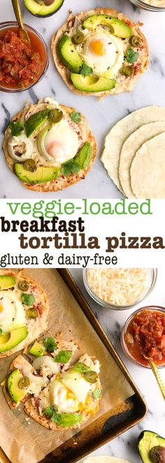 Veggie-loaded Breakfast Tortilla Pizza! Made with salsa, dairy-free cheese, avocado and eggs for an easy and delicious tortilla pizza that is healthy and simple to make!