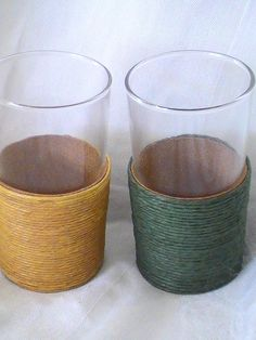 Vintage Drinking Glasses with Straw Bottoms by 3birdz on Etsy