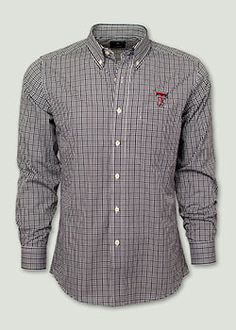 9e6a3b494c7 Antigua Monarch Black and White Gingham Dress Shirt. Red Raider Outfitter  Men s Polos
