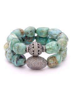 Pave Diamond and Peruvian Opal Nugget Bracelet Stack Bohemian Bracelets, Love Bracelets, Beaded Bracelets, Diamond Bracelets, Stretch Bracelets, Diamond Friendship Bracelet, Peruvian Opal, Shell Bracelet, Turquoise Jewelry