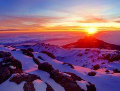 Mount Kilimanjaro, Tanzania  a spectacular sunrise 19,341 feet above sea level!