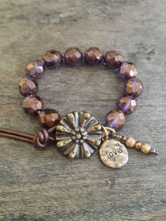 Love Hand Knotted Leather Bracelet Boho Chic by TwoSilverSisters $30.00