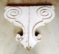"""Antique pair of oversized corbels. 32.5""""h x 18""""w x 5""""d SOLD"""