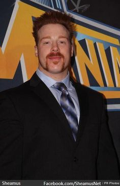Sheamus in a suit at the Wrestlemania event