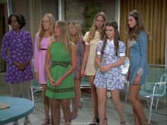 """Marica Brady and """"friends"""". Wait til that volcano blow &hot lava oozes out! 60s And 70s Fashion, Fashion Tv, Retro Fashion, Vintage Fashion, Fashion Ideas, Marsha Brady, The Brady Bunch, Old Tv Shows, Thats The Way"""