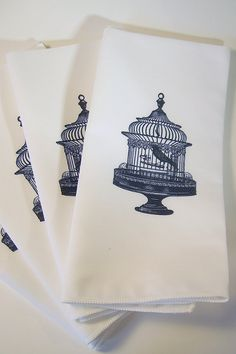 Caged Bird Napkins in Black Set of FOUR by nicoleporterdesign, $24.00