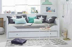 Wohnideen Jugendzimmer Wandfarbe jugendzimmer in grau blau einrichten weißes bett jugendzimmer und